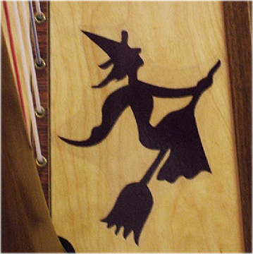 Picture of Removable Harp Decal, Witch on Broomstick